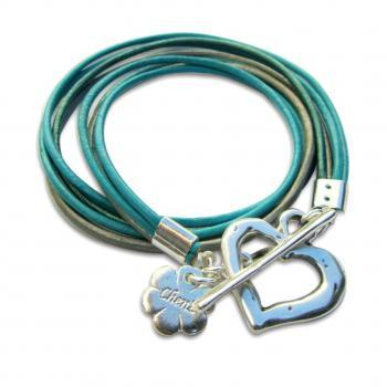 Silver Heart Turquoise leather wrap bracelet, friendship bracelet, Valentines Day SALE