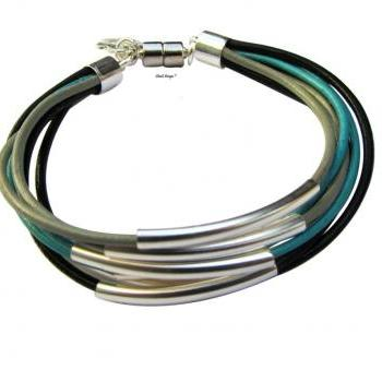 Silver beads with multi leather cords bracelet women bracelet charm bracelet turquoise black leather
